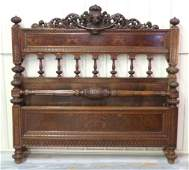 19th c CONTINENTAL FIGURAL CARVED BED