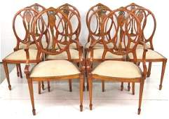 10 ADAMS STYLE PAINT DECORATED DINING CHAIRS