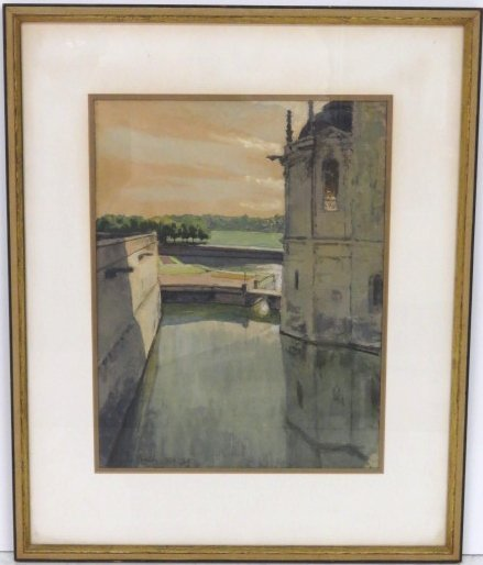 ALEXANDER BENOIS WATERCOLOR CASTLE w/ MOAT