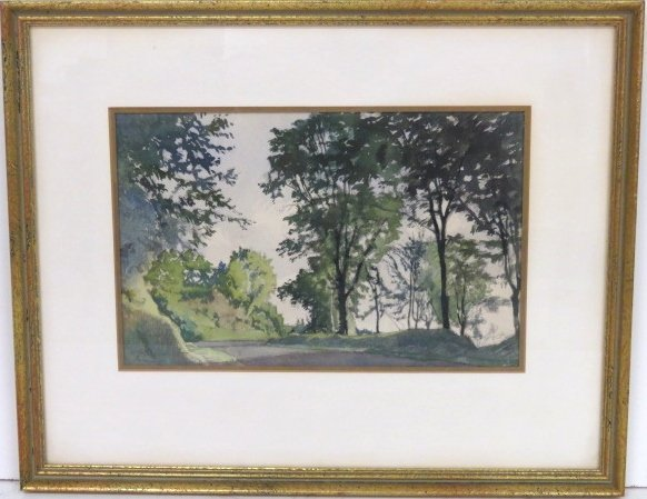 ALEXANDER BENOIS WATERCOLOR LANDSCAPE w/ TREES