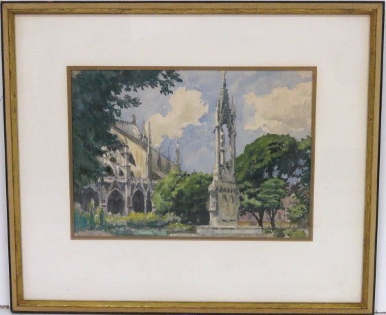ALEXANDER BENOIS WATERCOLOR CATHEDRAL w/ MONUMENT