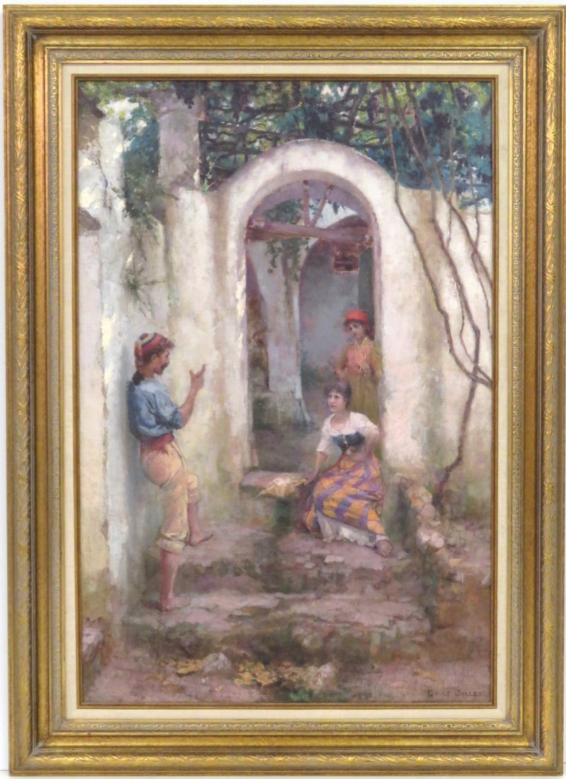 MARTIN GWILT JOLLEY PAINTING FIGURES IN A DOORWAY