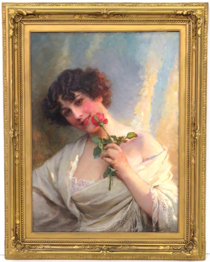DANIEL HERNANDEZ PAINTING OF A YOUNG GIRL w/ ROSE
