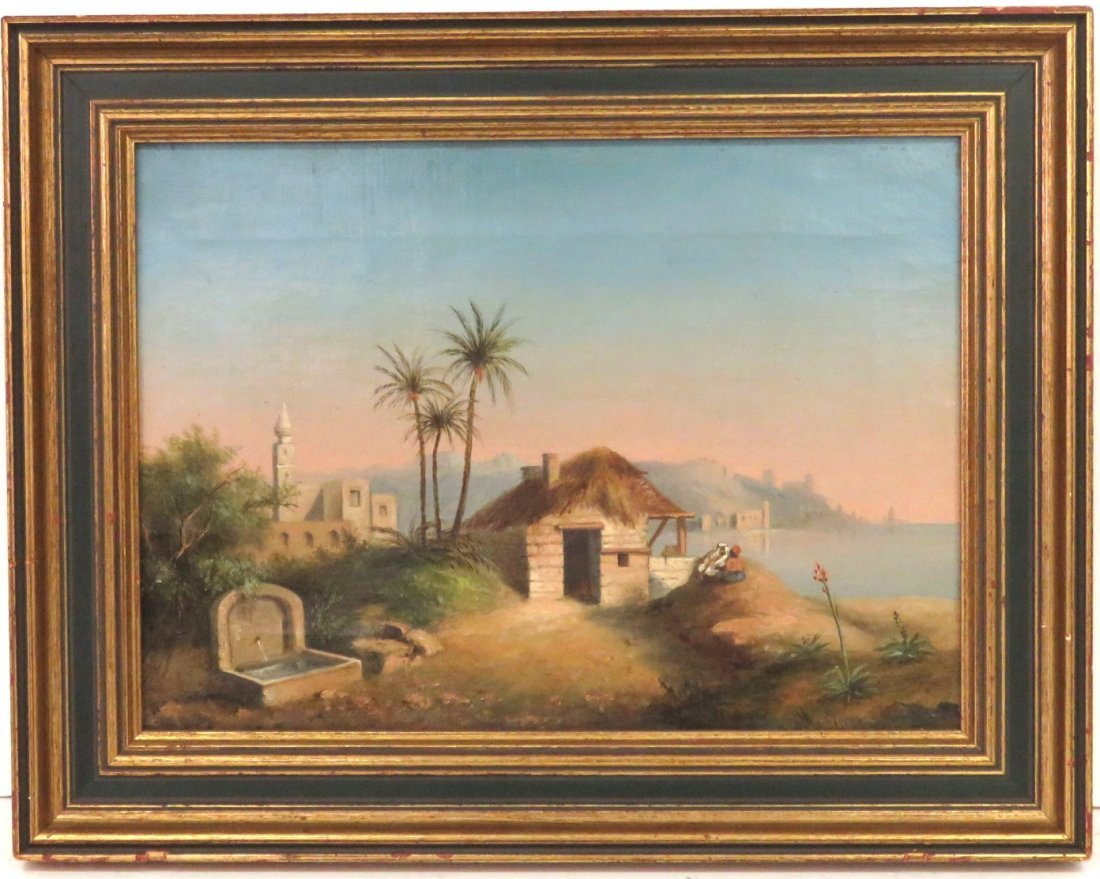 MIDDLE EASTERN LANDSCAPE PAINTING w/ FIGURES