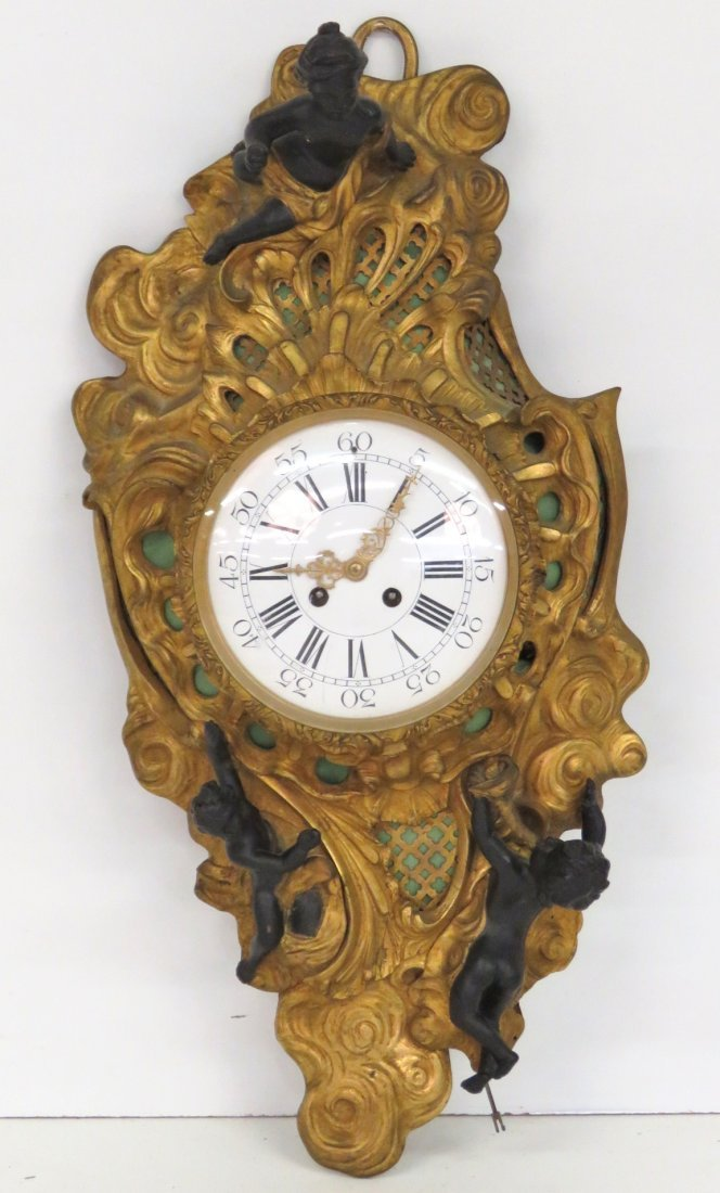 ANTIQUE FRENCH GILT BRONZE CARTEL CLOCK w/ PUTTIS