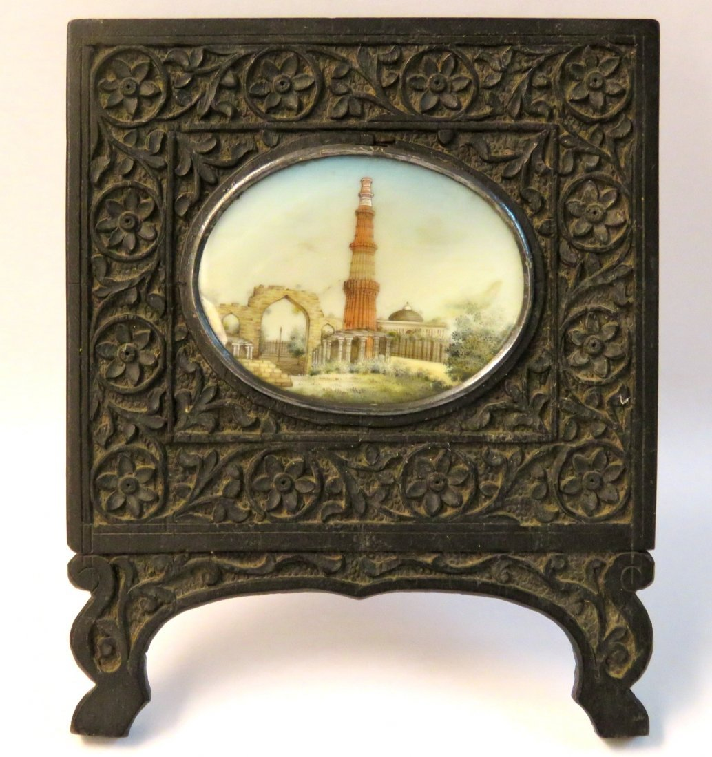GRAND TOUR MINIATURE PAINTING in CHINESE TEAK FRAME