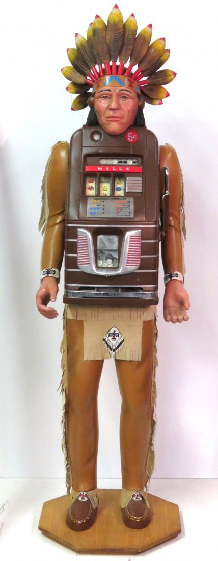 MILLS LIFE SIZE CARVED WOOD INDIAN SLOT MACHINE