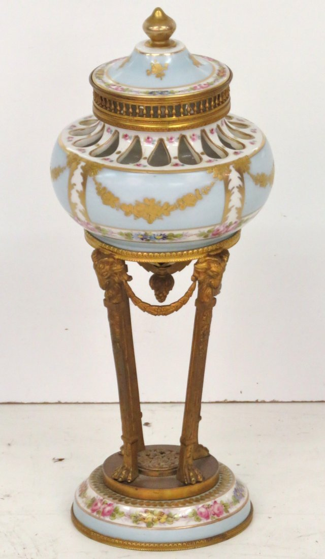 "ANTIQUE BRONZE MOUNTED 13"" SEVRES PORCELAIN URN"