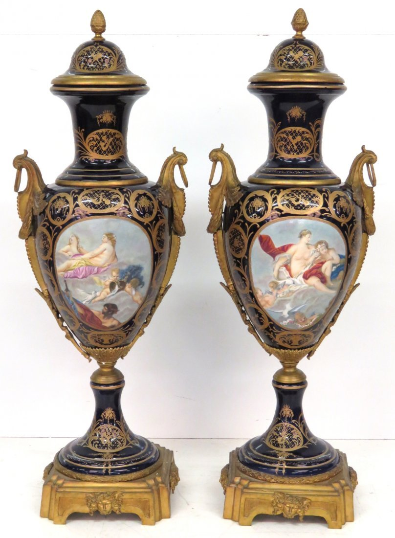 "Pair 49"" BRONZE MOUNTED SEVRES PORCELAIN VASES"