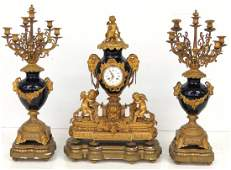 3 pc FRENCH FIGURAL BRONZE  COBALT CLOCK SET