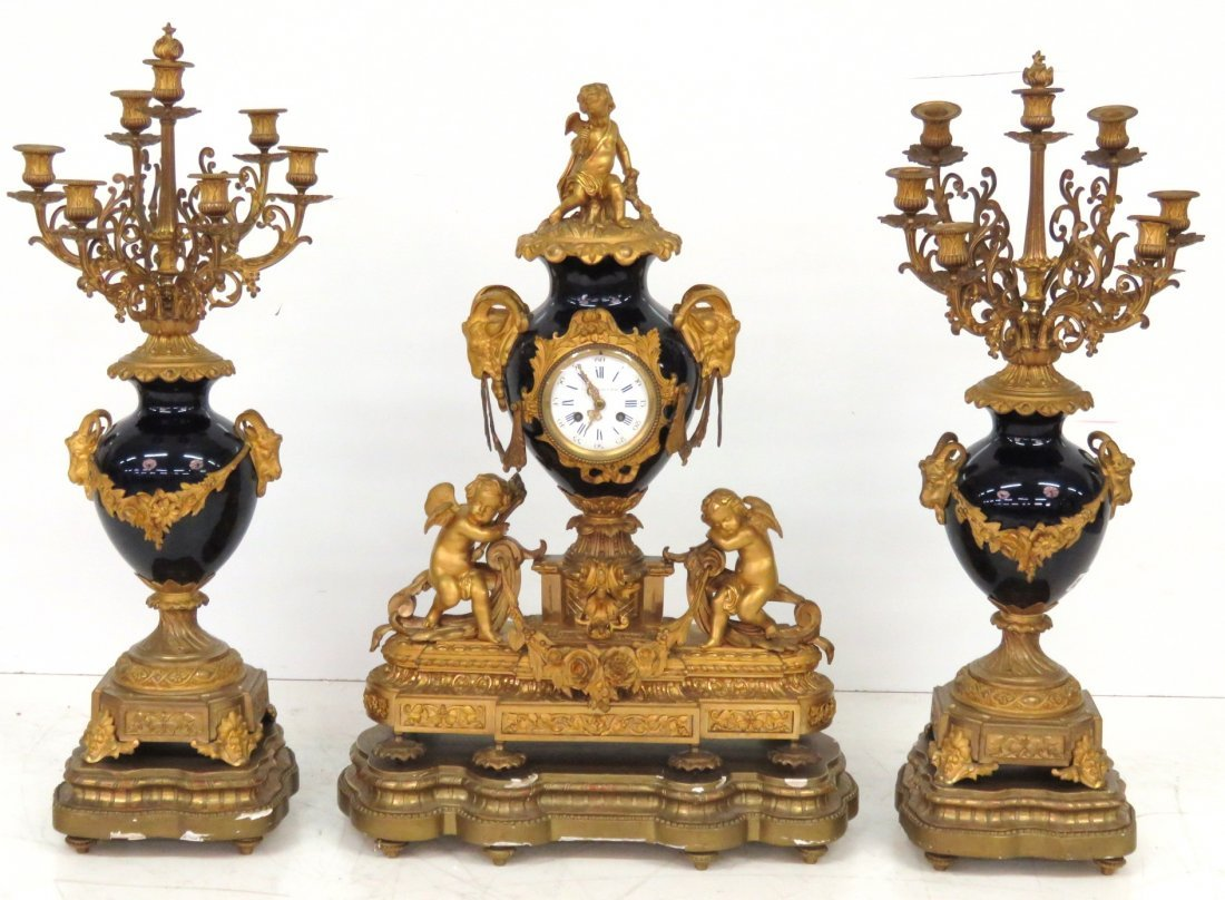 3 pc. FRENCH FIGURAL BRONZE & COBALT CLOCK SET