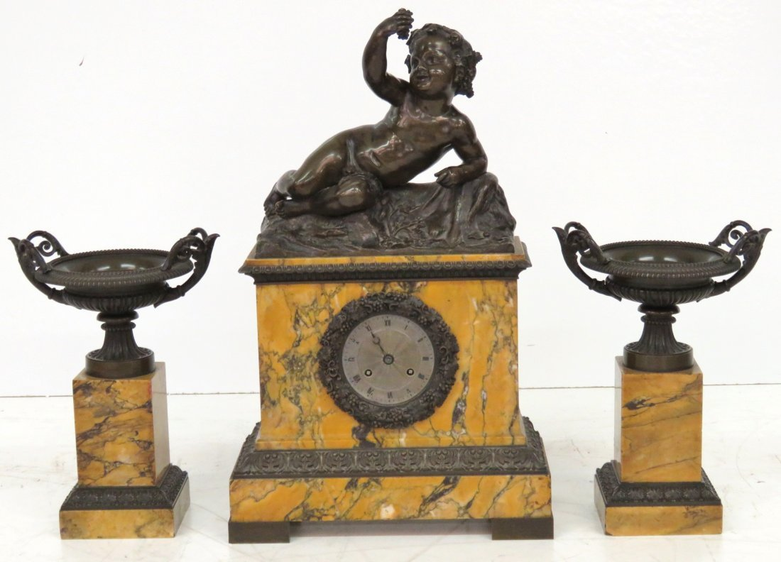 ANTIQUE 3 pc. FRENCH BRONZE & MARBLE CLOCK SET
