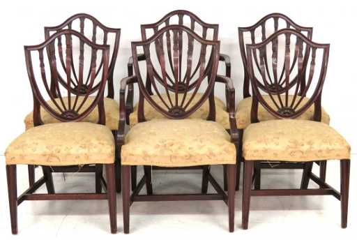 - 6 POTTHAST BROTHERS BALTIMORE SHIELDBACK DINING CHAIRS