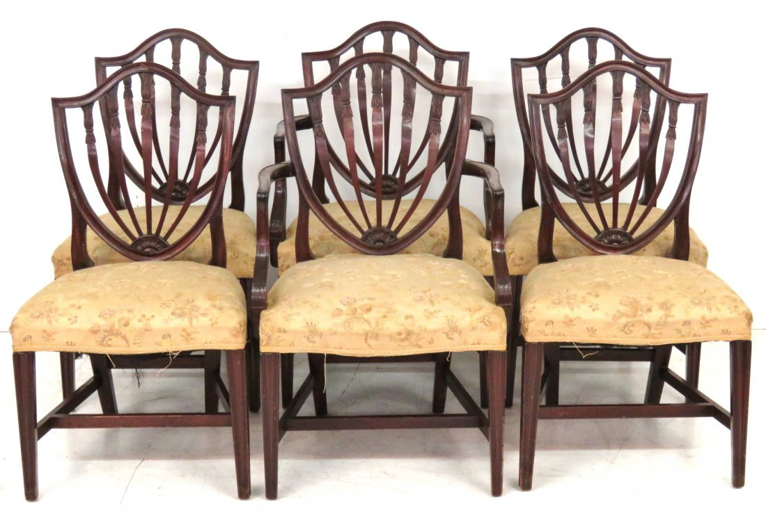 6 POTTHAST BROTHERS BALTIMORE SHIELDBACK DINING CHAIRS