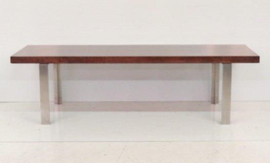 CHROME & ROSEWOOD MODERN DESIGN COFFEE TABLE
