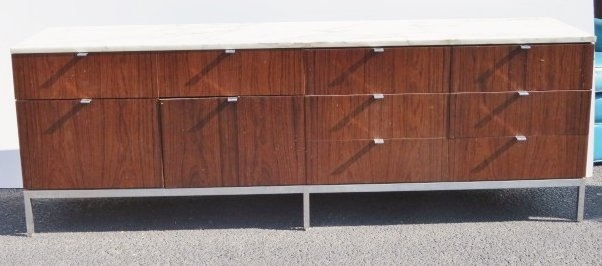 FLORENCE KNOLL MARBLETOP ROSEWOOD CREDENZA