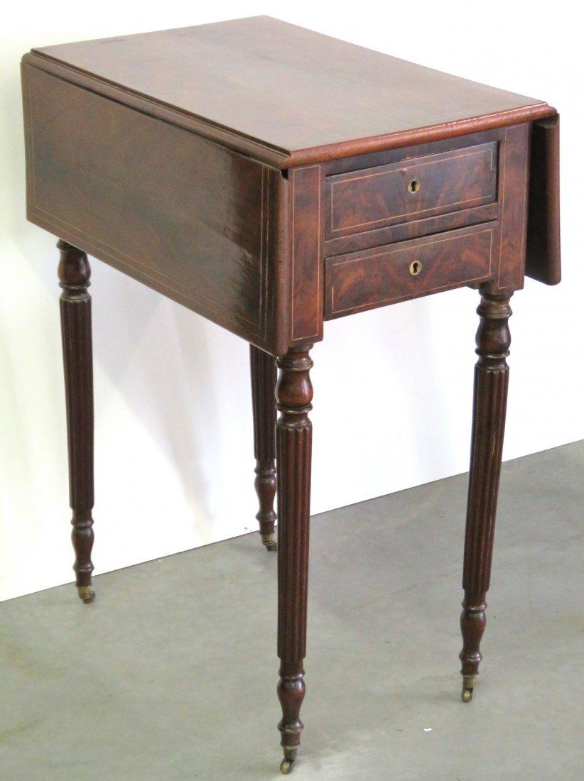 19th c. LOUIS PHILIPPE  INLAID MAHOGANY PEMBROKE TABLE