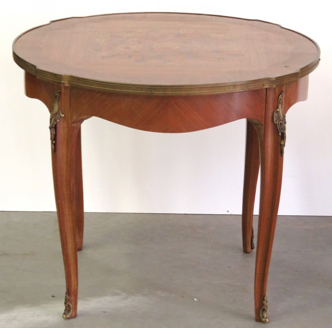 FRENCH LOUIS XV STYLE INLAID TEA TABLE