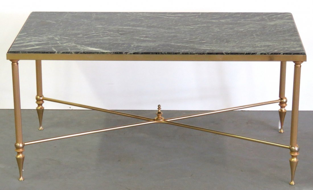 DECORATIVE STYLE MARBLE TOP BRASS COFFEE TABLE