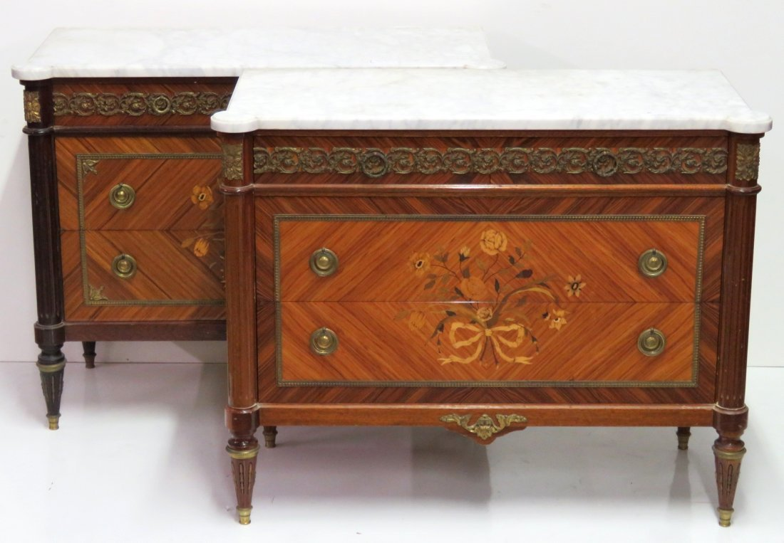 PAIR FRENCH BRONZE MOUNTED INLAID MARBLETOP COMMODES
