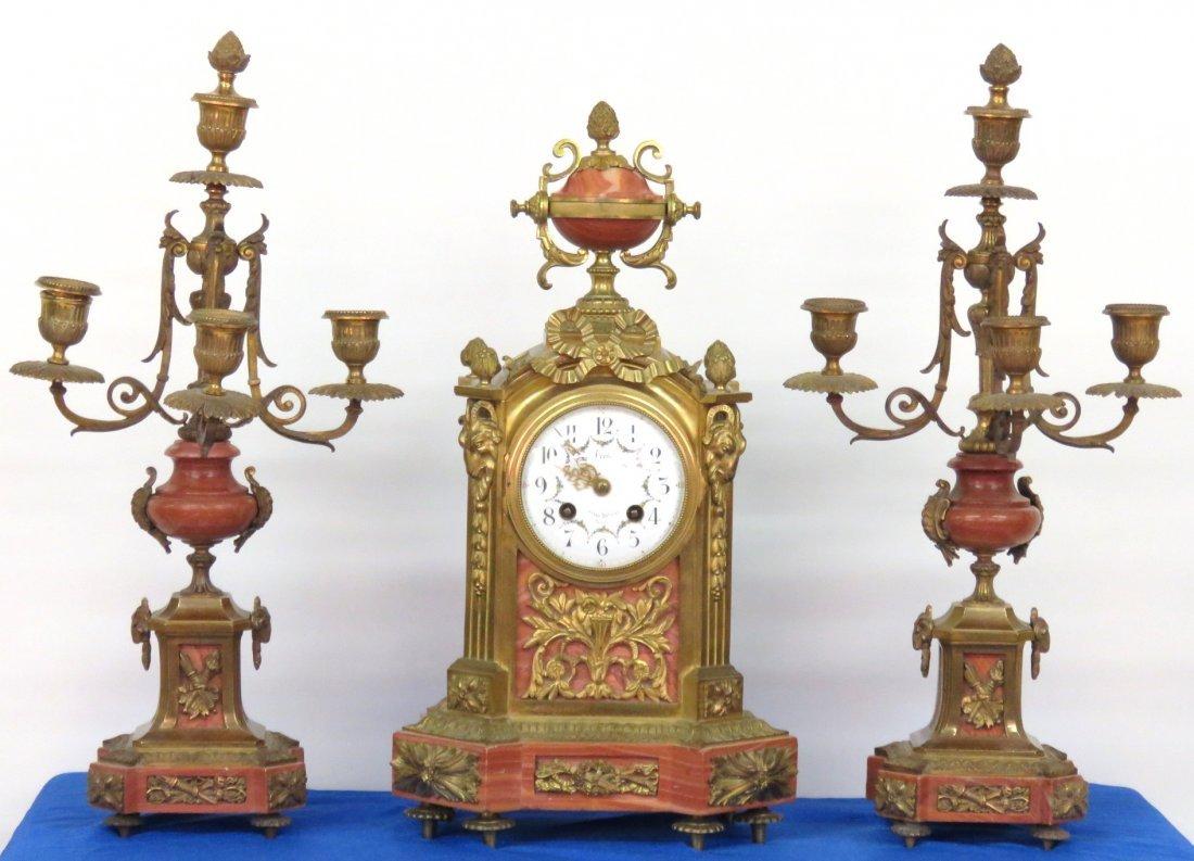 3 pc. LOUIS XVI STYLE GILT BRONZE & MARBLE CLOCK SET