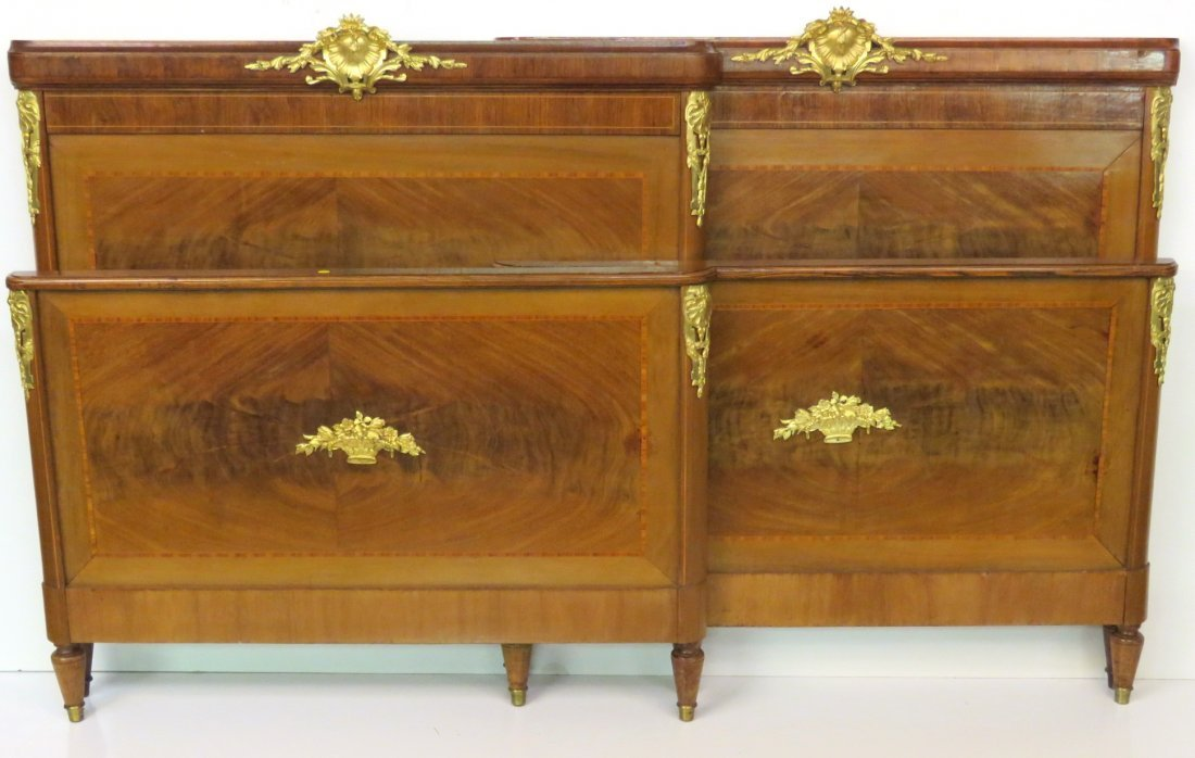 Pair FRENCH GILT BRONZE MOUNTED BEDS