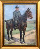 ANTIQUE OIL PAINTING GENTLEMAN on HORSE