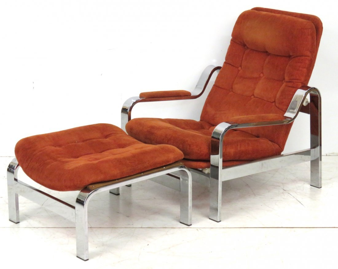 MODERN CHROME RECLINING LOUNGE CHAIR & OTTOMAN