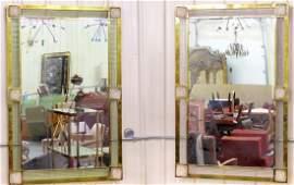 Pair 48 X 32 BRONZE  VENETIAN GLASS MIRRORS