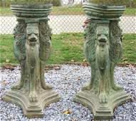 PAIR 4 12 FOOT FIGURAL BRONZE LION FOUNTAINS