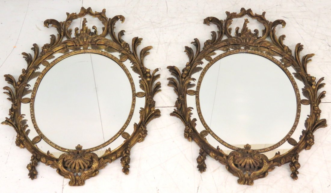 """Pair ANTIQUE FRENCH 58""""x 42"""" GILT WOOD MIRRORS"""