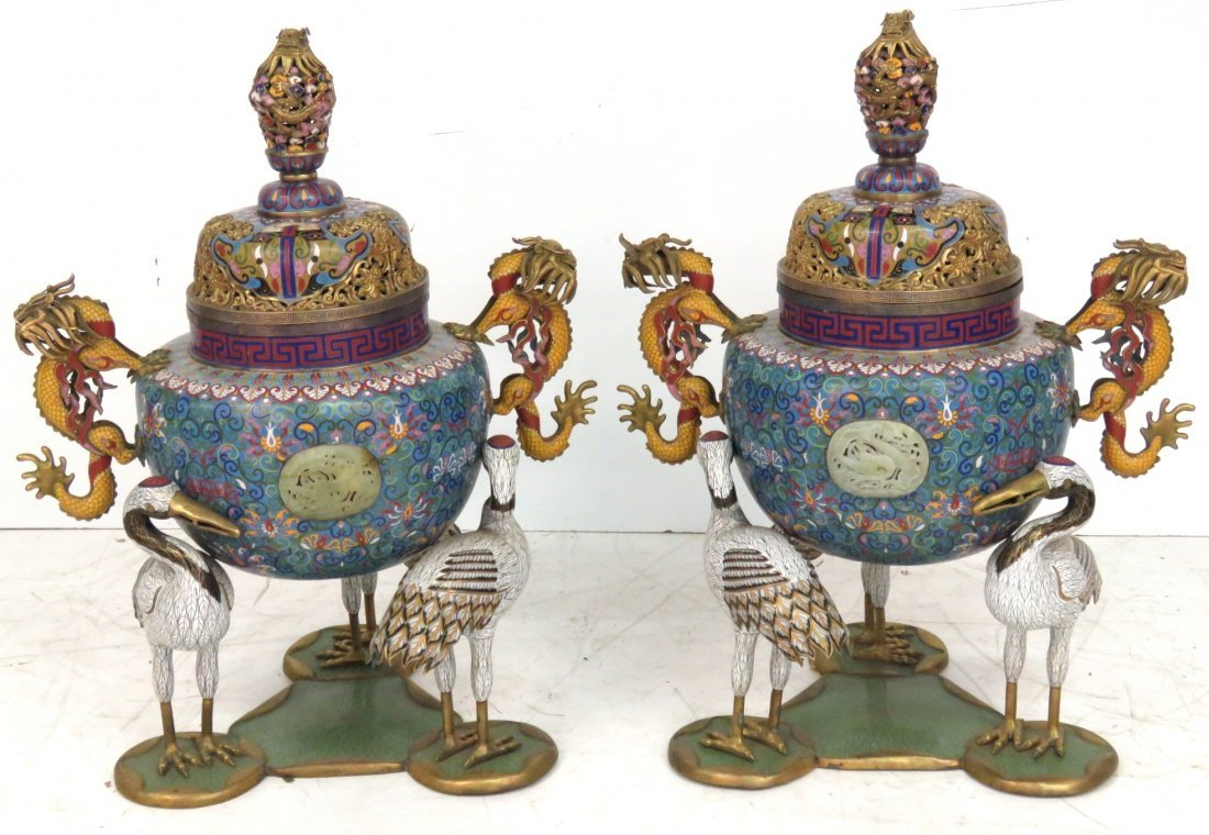 """PAIR LARGE 35""""CHINESE CLOISONNE URNS w/ CRANES"""