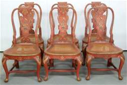 6 CHINOISERIE PAINT DECORATED QUEEN ANNE STYLE CHAIRS
