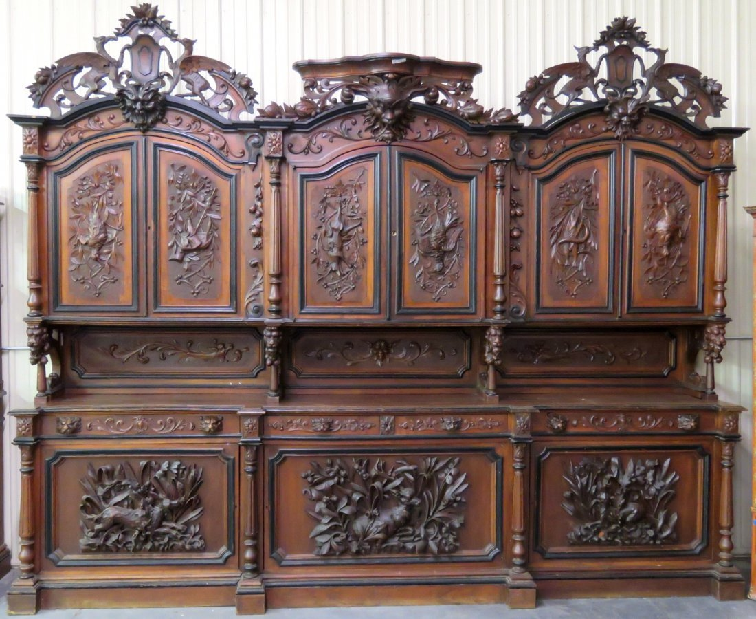 ITALIAN CARVED SIDEBOARD w/ BLACK FOREST CARVINGS