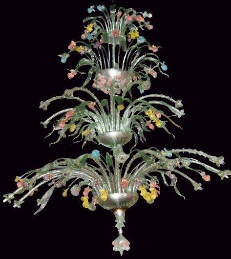 PALATIAL 7 FOOT MURANO VENETIAN GLASS CHANDELIER