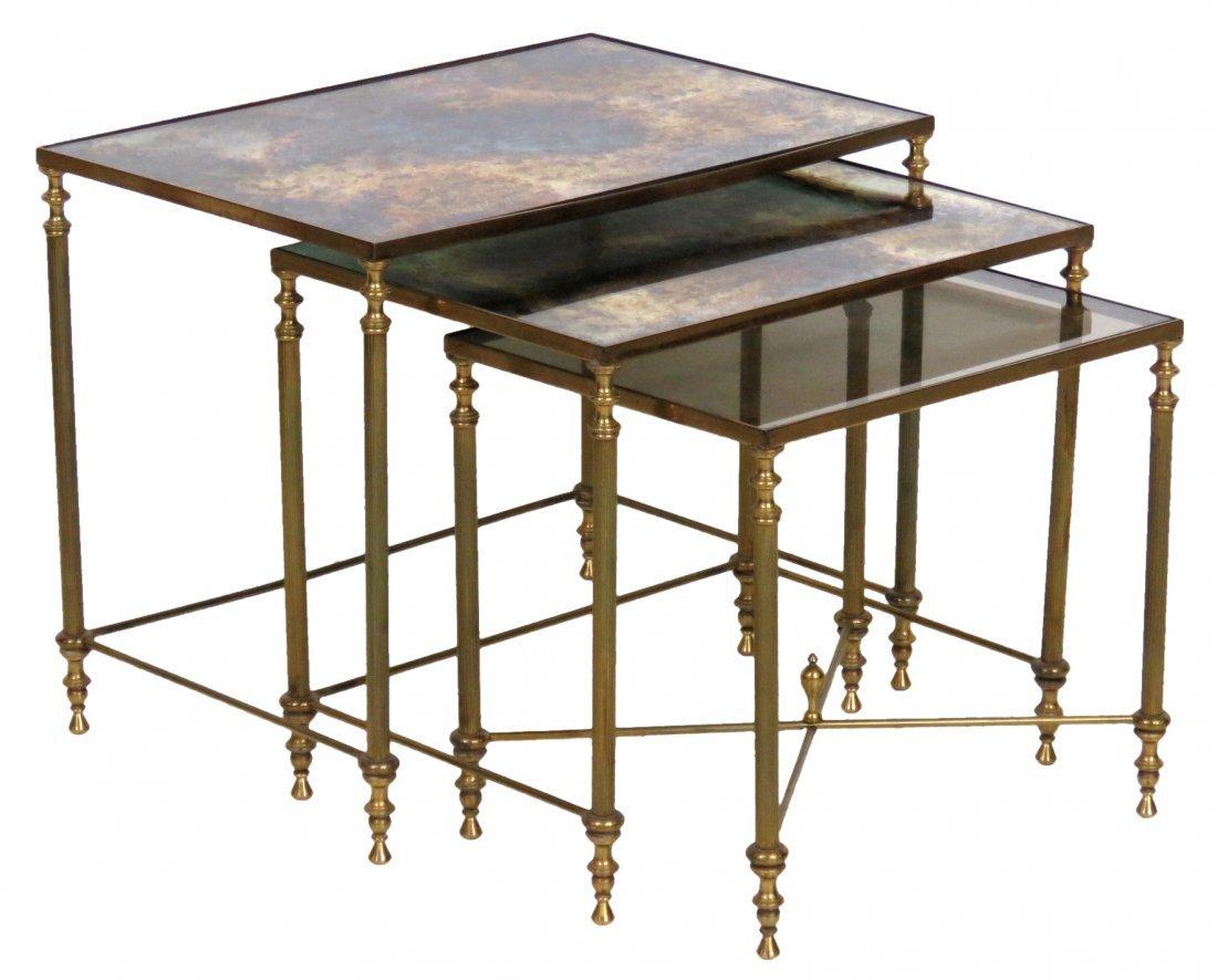 DIRECTOIRE STYLE BRONZE GLASSTOP NESTING TABLES