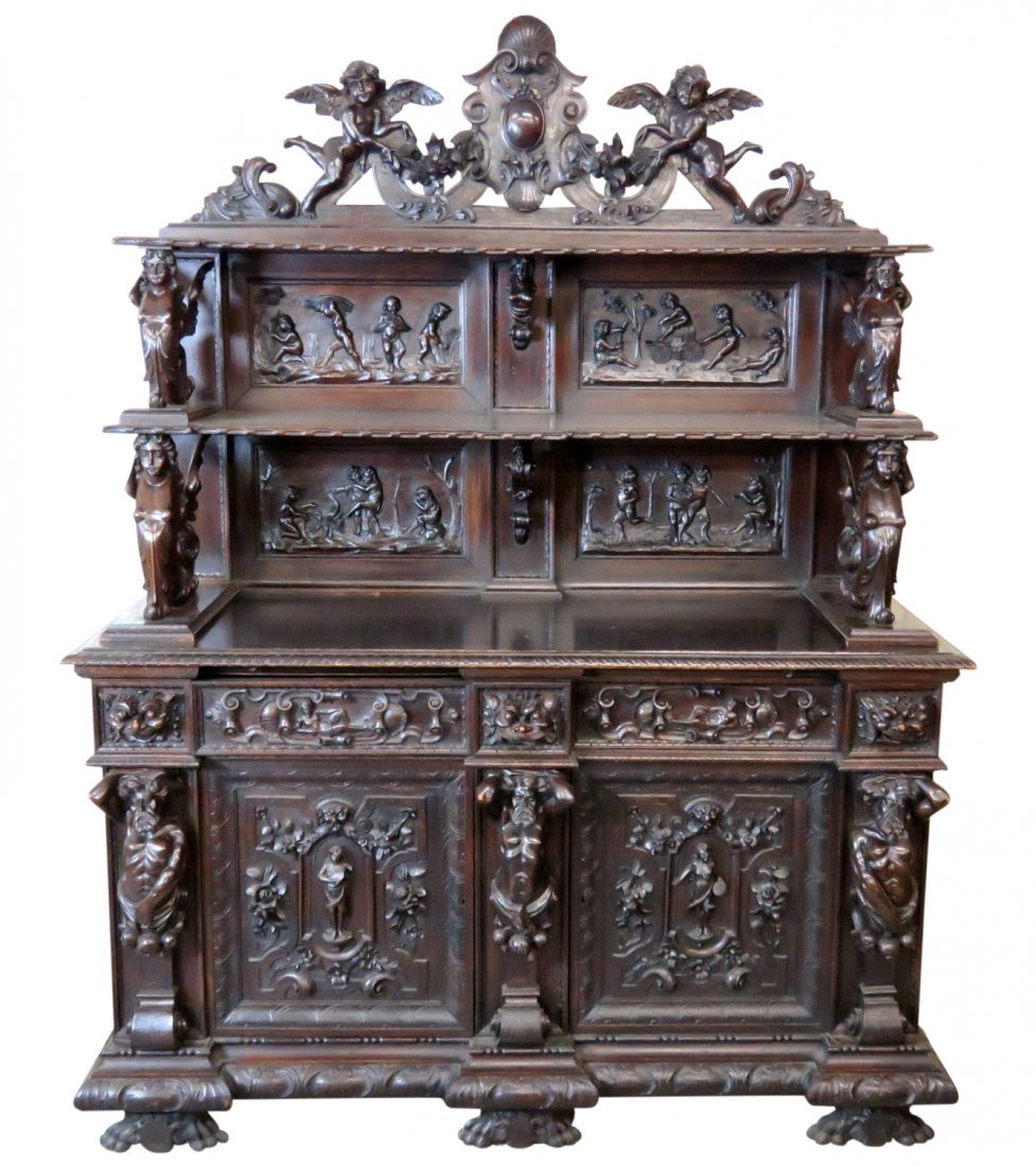 19th c. ITALIAN FIGURAL CARVED SIDEBOARD