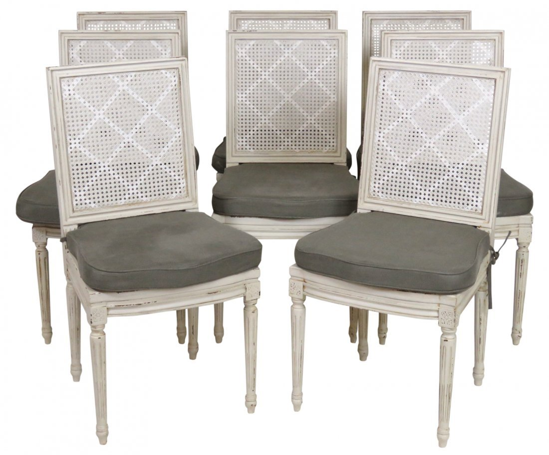 GUSTAVIAN CREAM PAINTED CANE BACK DINING CHAIRS