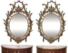"""Pair ANTIQUE 58"""" x 42"""" CARVED GILT WOOD MIRRORS"""