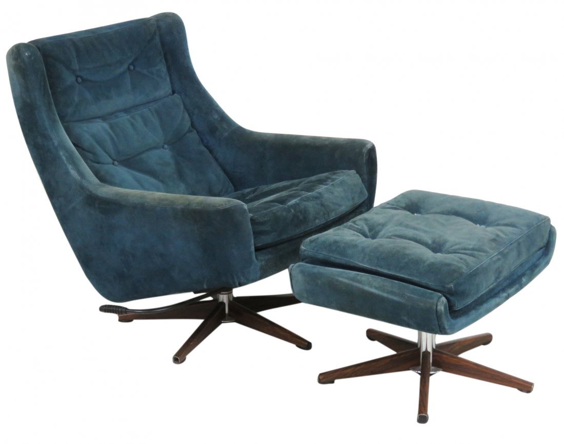STUART DANISH MODERN LOUNGE CHAIR & OTTOMAN