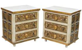 Pair ANTIQUE CONTINENTAL PAINTED & GILT STANDS