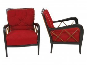 Pair Paolo Buffa Style Lounge Chairs