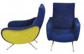 Pair Gio Ponti Style Brass Leg Lounge Chairs