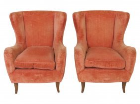 Pair Italian Modern Upholstered Lounge Chairs