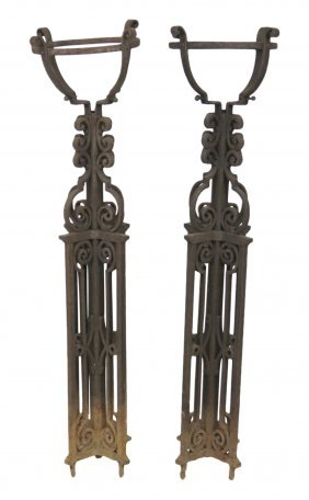 "Pair Antique 56"" Spanish Wrought Iron Plant Stands"
