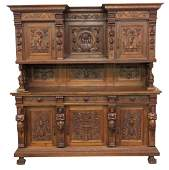 19th c CONTINENTAL FIGURAL CARVED WALNUT SIDEBOARD