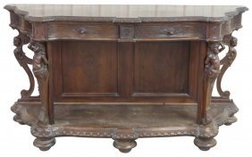 Italian Figural Carved Walnut Console W/ Puttis