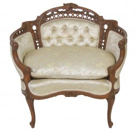 Louis Xv Style Carved Settee W/ Birds