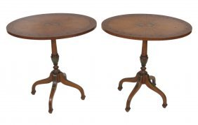 Pair Adams Style Paint Decorated Side Tables