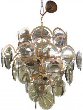 Mazzega Italian Modern Smoke Glass Chandelier